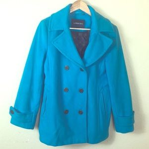 Like new Lands End Cashmere wool Aqua pea coat
